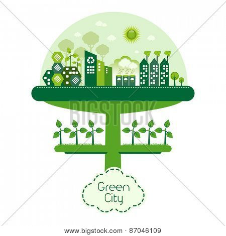 Green futuristic city living concept. Green housing with solar panels, wind farm and trees.