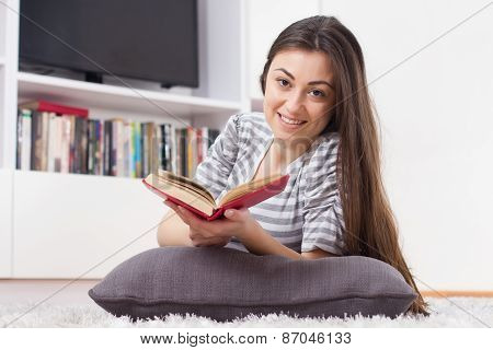 Happy Woman Relax And Reading Book