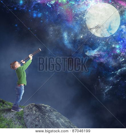 Child watching the moon