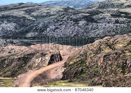 Road Construction In Rocks Of Mountains