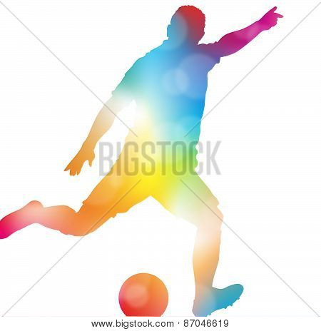 Abstract Soccer Player Scoring In Beautiful Summer Haze.