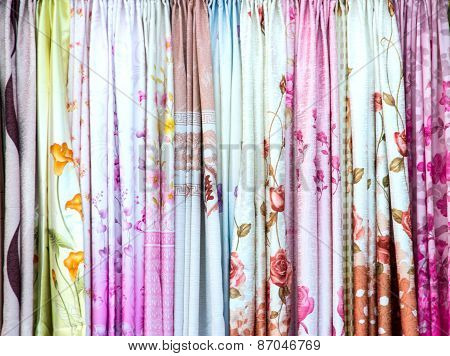 Colorful Curtain Samples Hanging Display In A Retail Shop