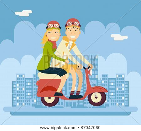 Hipster Male Female Couple Characters Riding Schooter Concept Urban Landscape City Street Background