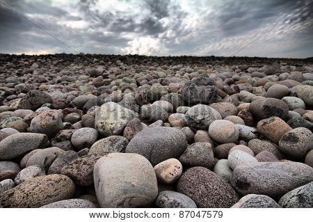Boulders Beach On Shore Of Barents Sea