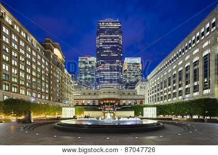 Cabot Square In London  At Night, Editorial