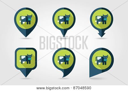 Cow Flat Mapping Pin Icon With Long Shadow