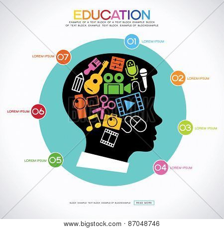 Ã??oncept art education. Infographic background with a set icons of creativity in the silhouette of the head of the child