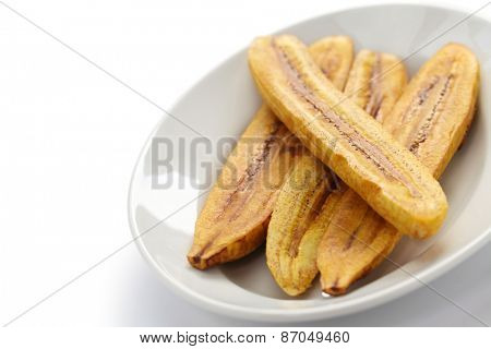 fried plantain banana isolated on white background