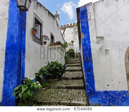 liqueur shops in street in Obidos, Portugal