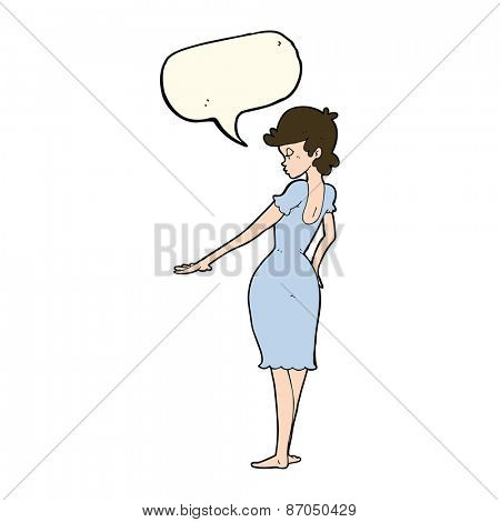 cartoon pretty woman looking at nails with speech bubble