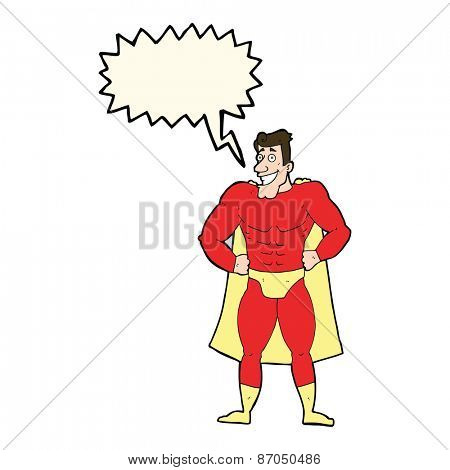 cartoon hero with speech bubble