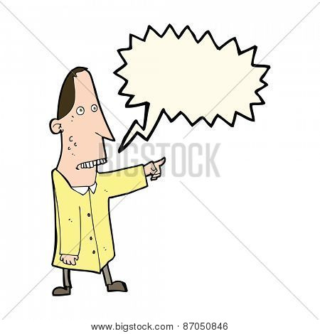 cartoon ugly man pointing with speech bubble