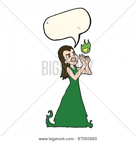 cartoon witch woman casting spell with speech bubble