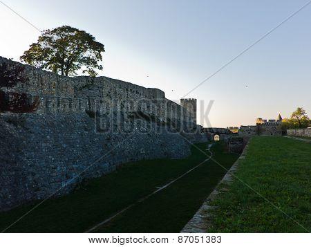 Kalemegdan fortress wall at sunset in Belgrade