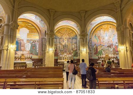 Tourists Visiting The Side Chapel Mosaic Depicting The Pentecost Inside The Rosary Basilica