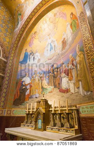 Detail Of A Side Chapel Mosaic Depicting The Pentecost Inside The Rosary Basilica