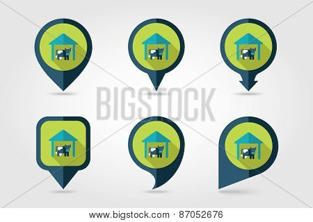 Cowshed Flat Mapping Pin Icon With Long Shadow