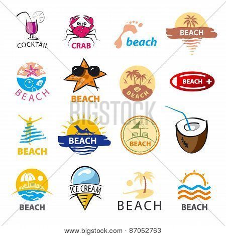 Biggest Collection Of Vector Icons Beach, Palm Trees, Sea