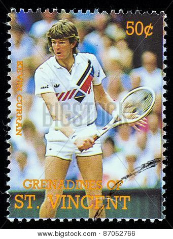 BEQUIA - CIRCA 1988: A stamp printed in Grenadines of St. Vincent shows Tennis Players Kivin Curran , circa 1988