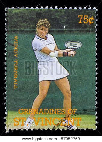 BEQUIA - CIRCA 1988: A stamp printed in Grenadines of St. Vincent shows Tennis Players Wendy Turnball, circa 1988