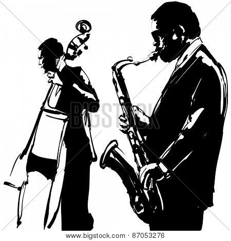 Jazz  with saxophone and double-bass - Vector illustration