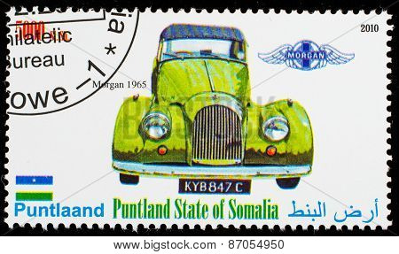 SOMALIA - CIRCA 2010: Postage stamp printed in Somali republic shows retro car,  Morgan 1965,circa 2010.