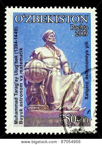 UZBEKISTAN - CIRCA 2009: A stamp printed in Uzbekistan shows Muhammad ibn Taragay Shahrukh ibn Ulugbek Guragan Timur - Tamerlane's grandson, astronomer, mathematician and astrologer., circa 2009