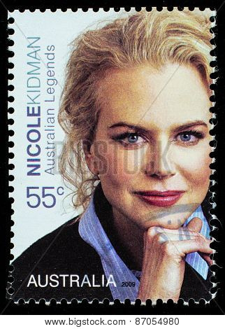 AUSTRALIA - CIRCA 2009: a postage stamp printed in Australia showing an image of actress Nicole Kidman, circa 2009.