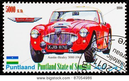 SOMALIA - CIRCA 2010: Postage stamp printed in Somali republic shows retro car,  Austin-Healey 3000 1963,circa 2010.
