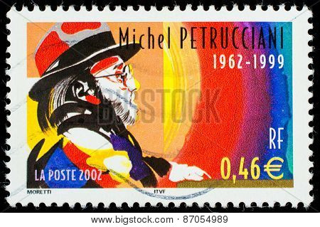 FRANCE - CIRCA 2002: A stamp printed by FRANCE shows image portrait of famous French jazz pianist Michel Petrucciani, circa 2002