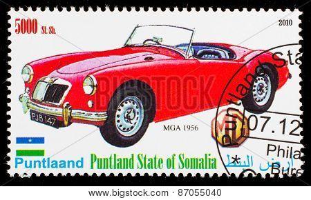 SOMALIA - CIRCA 2010: Postage stamp printed in Somali republic shows retro car,  MGA 1956,circa 2010.
