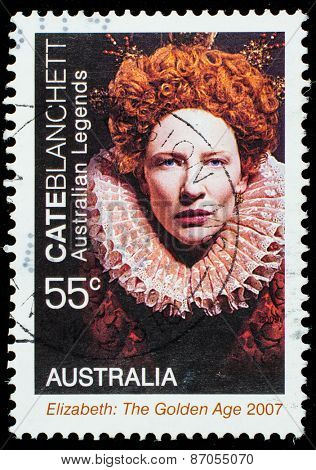 AUSTRALIA - CIRCA 2009: a postage stamp printed in Australia showing an image of actress Cate Blanchett, circa 2009.