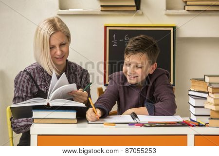 School tutor with young student.