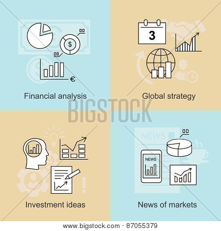 Business concepts. News of markets, investment ideas and financial analysis. Vector illustration