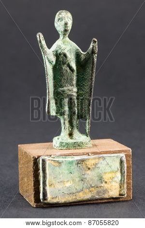 Chieftain Praying With Cloak And Stick, Bronze Figurine