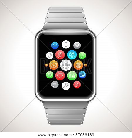 Smart Watch Concept Vector Realistic Illustration