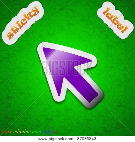 Cursor, Arrow Icon Sign. Symbol Chic Colored Sticky Label On Green Background. Vector