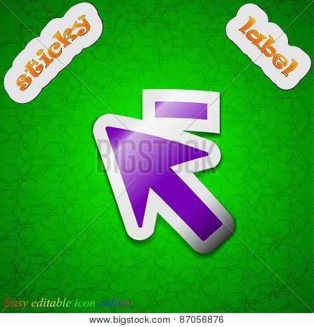 Cursor, Arrow Minus Icon Sign. Symbol Chic Colored Sticky Label On Green Background. Vector
