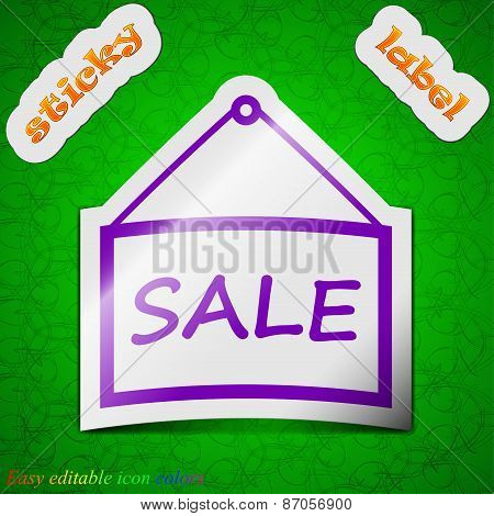 Sale Tag Icon Sign. Symbol Chic Colored Sticky Label On Green Background. Vector