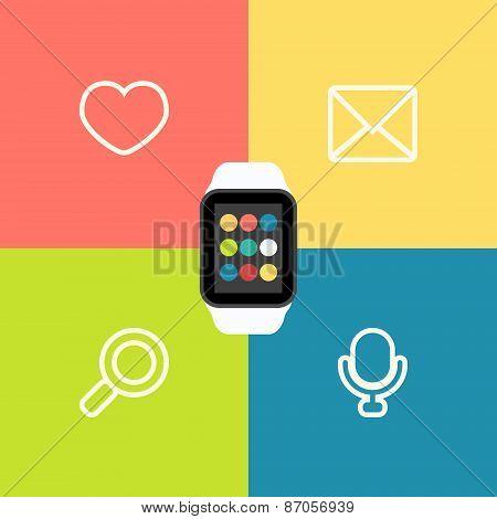 Smart Watch Vector Flat Illustration