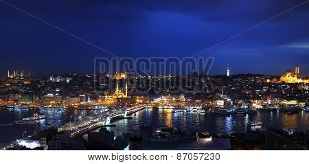 Night view of Istanbul and Big Horn from Galata Tower, Bosphorus, Istanbul, Turkey