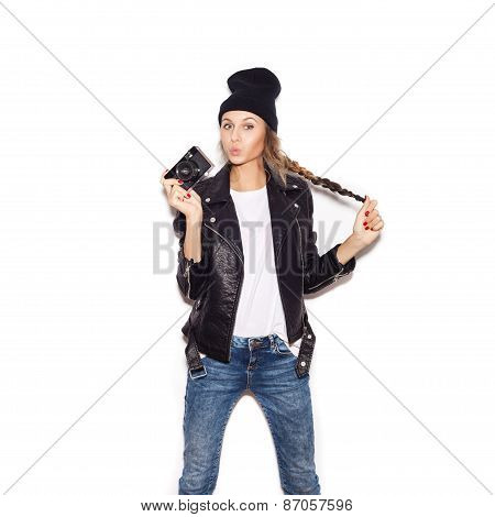 Pretty Woman In Black Beanie Having Fun With Vintage Noname Camera