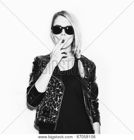 Studio Fashion Photo Of Woman Smoking Cigar
