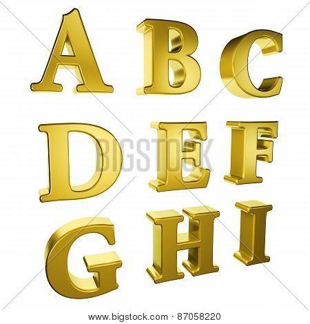 Gold Alphabet A To I