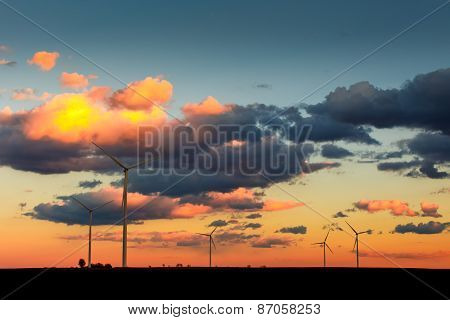 Eco Power, Wind Turbines In Sunset