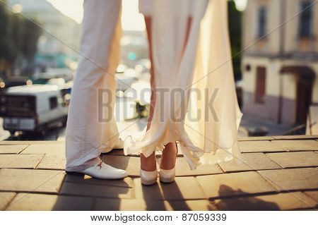 wedding legs of bride and groom