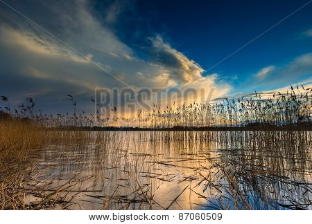 Beautiful Lake With Colorful Sunset Sky. Tranquil Vibrant Landscape