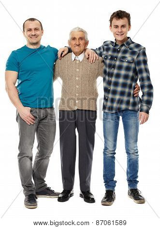 Grandfather, Son And Grandson Isolated On White