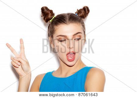 Young Woman  Saluting And Winking