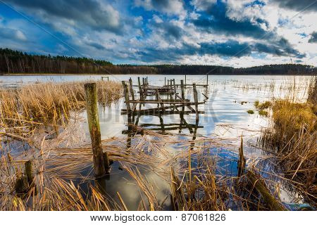Lake With Old Destroyed Pier